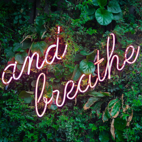 neon sign quoting 'and breathe'